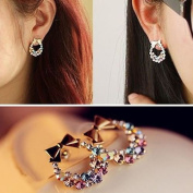 Fashion 1pair Women Lady Elegant Crystal Rhinestone Ear Stud Earrings