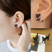 1 pairs Fashion Lovely Cute Pearl Leopard Cat Ear Stud Womens Mens Piercing Earring