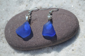 Tiny Cobalt Blue Sea Glass Sterling Silver Earrings