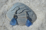 Tiny Genuine Cornflower Blue Sea Glass Sterling Silver Earrings