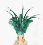 Ostrich Feathers & Pheasant Feathers Sequins Open Face Headdress, Green