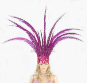 Open Face Pheasant Feathers Headdress with Sequins, Hot Pink
