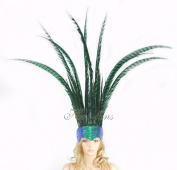 Open Face Pheasant Feathers Headdress with Sequins, Green