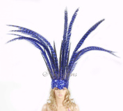 Open Face Pheasant Feathers Headdress with Sequins, Blue