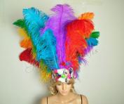 Hot-fans Ostrich Feathers Sequins Open Face Headdress, Multicolor