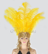 Hot-fans Ostrich Feathers Sequins Open Face Headdress, Golden