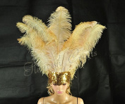 Hot-fans Ostrich Feathers Sequins Open Face Headdress, Wheat