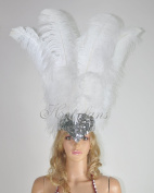 Hot-fans Ostrich Feathers Sequins Sharp Angle Open Face Headdress, White