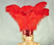 Hot-fans Ostrich Feathers Sequins Open Face Headdress, Red