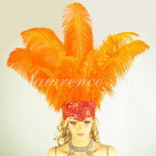 Hot-fans Ostrich Feathers Sequins Open Face Headdress, Orange