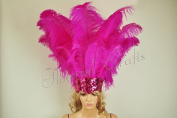 Hot-fans Ostrich Feathers Sequins Open Face Headdress, Hot Pink