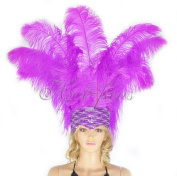 Hot-fans Ostrich Feathers Sequins Open Face Headdress, Lavender