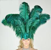 Hot-fans Ostrich Feathers Sequins Open Face Headdress, Forest Green