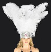 Hot-fans Ostrich Feathers Sequins Open Face Headdress, White