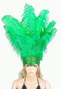 Hot-fans Ostrich Feathers Sequins Open Face Headdress, Bright Green
