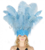 Hot-fans Ostrich Feathers Sequins Open Face Headdress, Baby Blue