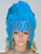 Hot-fans Sequins Las Vegas Dancer Showgirl Headpiece, Blue