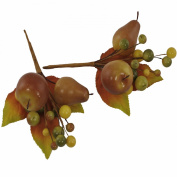 Fall Fruit and Berry Picks on Wire Stems for Craft and Display Purposes, x2