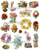 Vintage Victorian Flowers Collage Sheet 105 Art Images for Decoupage, Scrapbooking, Jewellery Making