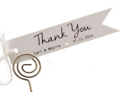 Summer-Ray.com 50 Personalised Mini White Wedding Favour Gift Tags Pennant Flag