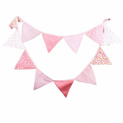 Pink Vintage Floral Bowknot Wedding Bunting Fabric Triangle Pennant Banner Birthday Baby Shower Party Hanging Decoration