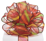 Brown Sheer Ribbon With Diagonal Stripes - 3.8cm x 20 Yds