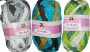 Clearance Pack of 3 Balls Metallic Dee Ruffle Scarf Yarn Mix Colours Lot