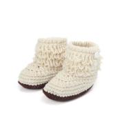Yanzi6 Unisex Boy Girl Baby Newborn Infant Hand Knitting Crochet Beige Tassel Buckle Shoes Socks Boots