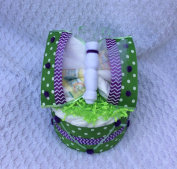 Green and Purple Chevron Nappy Butterfly and Mini Nappy Cake Set Unique Welcome Baby Gift Shower Decoration
