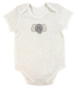 Stephan Baby Snapshirt-Style Pin Dot Nappy Cover with Embroidered Elephant, Cream, 3-6 Months