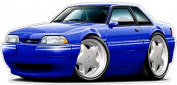"""Ford Shop Wall & Home Decor 1987-93 Mustang LX Fox Body Notchback Large 60cm x 48"""" (1.2m Long) Wall Graphic Decal Sticker Man Cave Garage Decor Boys Room Decor"""