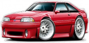 """Ford Shop Wall & Home Decor 1987-93 Mustang GT Fox Body Large 60cm x 48"""" (1.2m Long) Wall Graphic Decal Sticker Man Cave Garage Decor Boys Room Decor"""