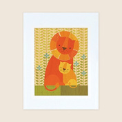 Petit Collage Unframed Print on Wood Wall Decor, Lion and Baby, Large
