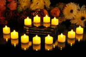 PK Green Set of 12 Amber LED Candles, Flameless TeaLights