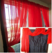 MONAGIFTS BRIGHT RED Scarf Voile Window Panel Solid sheer valance curtains 550cm LONG