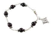 Garnet Bracelet with Celtic Knot Charm - 19cm - Sterling Silver