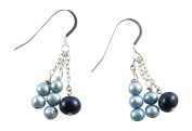 Dangling Cultured Fresh Water Pearl Earrings in Blue Tones - French Hooks, Sterling Silver