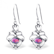 Synthetic Opal Silver Dangle Earrings Vintage Antique Style Stering Silver 925