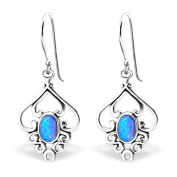 Classic Synthetic Opal Silver Dangle Earrings Vintage Antique Style Stering Silver 925
