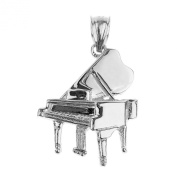 Solid 14k White Gold Music Charm Grand Piano Pendant