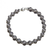 Aya Azrielant 14 mm Bead Necklace with Slate. Crystals in Sterling Silver