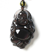 Natural Ice Kinds Rainbow Eye Obsidian Pendant Maitreya Buddha Amulet