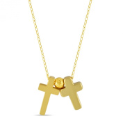 Tiny Double Gold Cross Necklace 14K Gold Plated Small Christian Necklace, Dainty Necklace Tiny Cross Charm