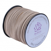 BRCbeads Micro-Fibre Flat Leather Lace Beading Thread Faux Suede Cord String Velet 100 Yard Roll Spool 3mm Khaki Colour with Acrylic Jar