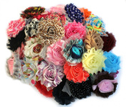 LIKA (50 pieces) Shabby Flowers - Chiffon Fabric Roses - 6.4cm - Solids and Prints Included - Assorted Colour Mix - Single Flowers Grab Bag