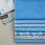 7 Pc Cloth Fabric Cotton Fabric for Quilting 50*50cm - Light Blue Series