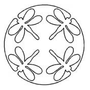 25cm Dragonfly Medallion Quilting Stencil by QCI - EL47