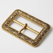 Vintage Metal Filigree Belt Buckle, Vintage Fashion Jewellery, 5.1cm - 1.9cm x 2.5cm - 2.2cm by 1 pc, Antique Gold, TR-11037