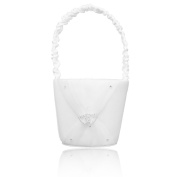 FOREVER YUNG 1pcs lovely Flower Girl Basket With Double Hearts For Wedding Ceremony Party 12.5*23cm White