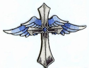 Cross with Blue Wings Iron on Embroidered Applique Patch